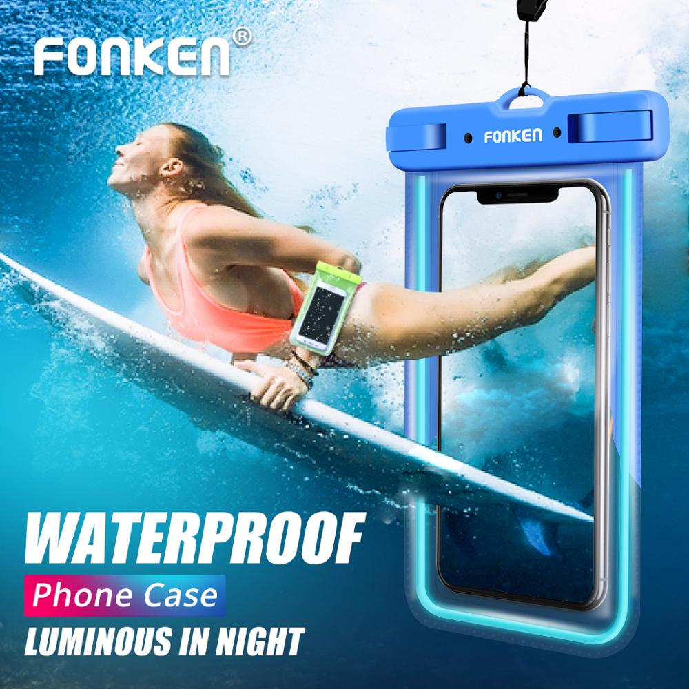 FONKEN Luminous Waterproof Case for Phone IPX8 Waterproof Bag Underwater Swimming with Arm Band Phone Case for Seaside Vacation водонепроницаемый чехол