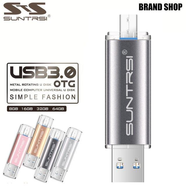 Suntrsi USB 3.0 Flash Drive 64GB OTG Pen drive High Speed Metal USB Stick PenDrive Customized Logo USB Flash Drive For Phone USB