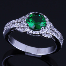 Charming Round Green Cubic Zirconia White CZ 925 Sterling Silver Ring For Women V0102 925 sterling silver dragon claw round green cz eye mens biker skull ring 9m202a