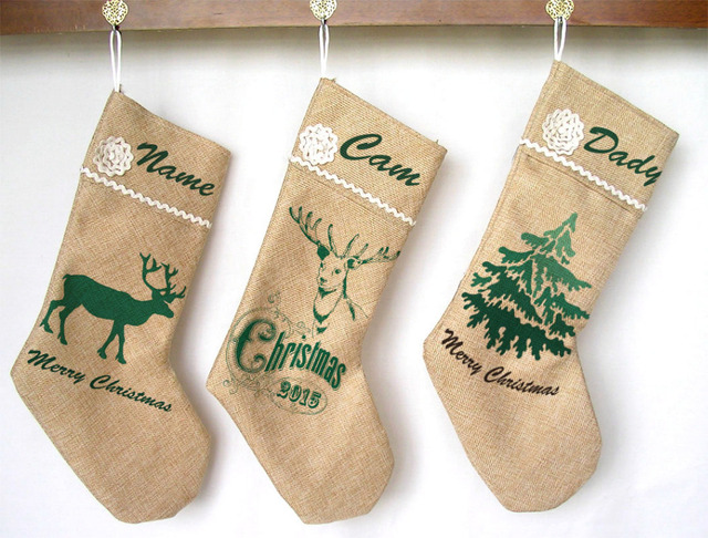 Us 11 0 Personalized Name Christmas Stocking Fresh Green And White Reindeer Tree Decor Vintage Linen Fabric In Stockings Gift Holders From Home