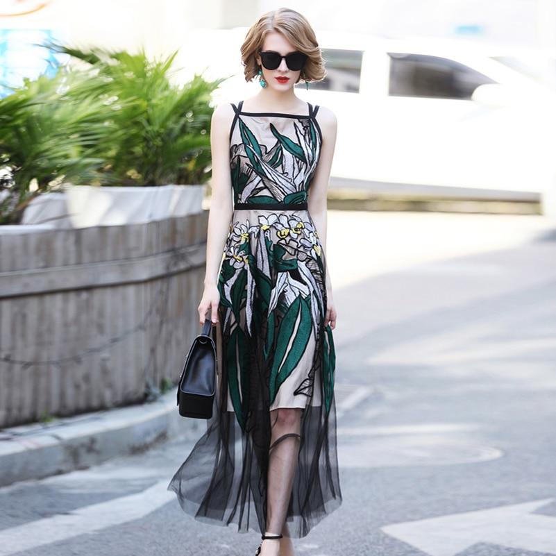 New Designer Fashion Summer Runway Maxi Dress Women Sleeveless Slash Neck Sexy Mesh Embroidery Luxurious Vintage