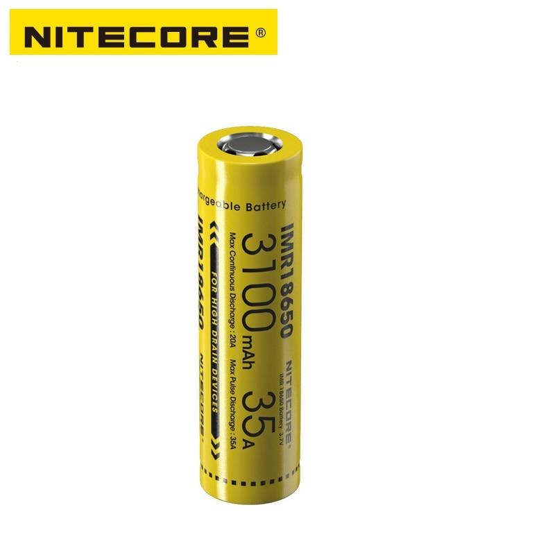 Nitecore IMR18650 3100mAh 35A 3.7v FLAT TOP Rechargeable Battery nitecore imr18650 3100mah 35a 3 7v flat top rechargeable battery