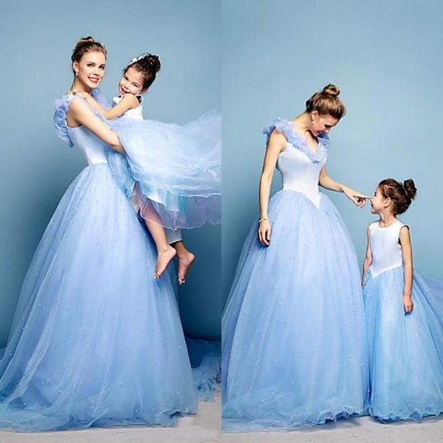 Blue ball gown pearls mother and daughter dresses 2017 for Mother daughter dresses for weddings