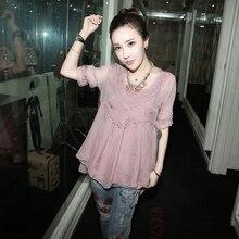 plus big size European 2016 new summer women pink chiffon two-piece short sleeve loose lace blouse sale B0066