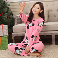 Conjuntos de pijama Cor de Rosa Mulheres Verão Animais Dos Desenhos Animados Impressão Camisola Modal Das Mulheres Meninas Pijamas Pijama Homewear Sleepwear