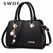 Yeni marka kadın donanım süsler katı tote çanta yüksek kaliteli bayan parti çanta Casual Crossbody Messenger omuz çantaları