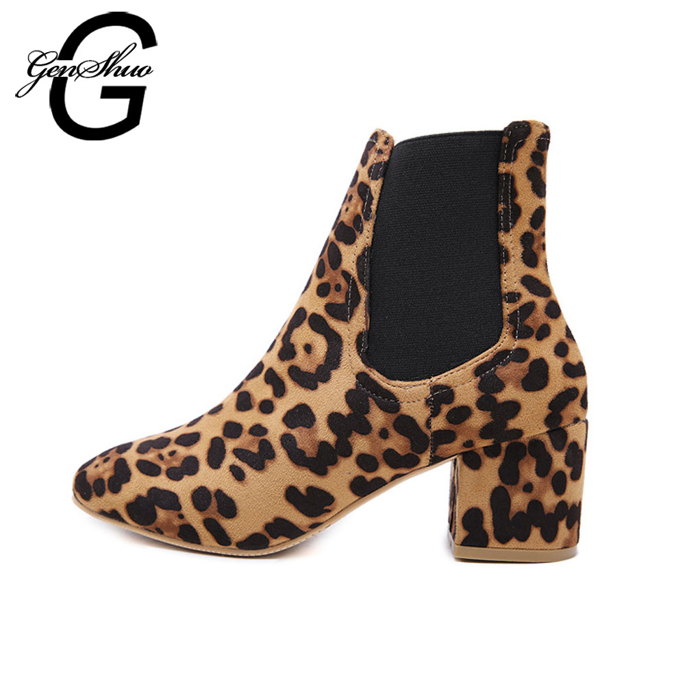 GENSHUO Autumn Sexy Women Ankle Boots Leopard Print High Heels Shoes Square Heel Women Boots Women Pumps Ankle Boots For Women цена