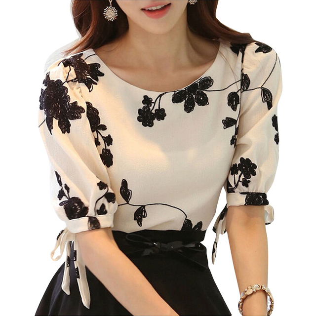 12a527cb996287 Women Shirt Autumn Tops Black White Floral Embroidered Chiffon Blouses Plus  Size Bow Half Sleeve Shirt