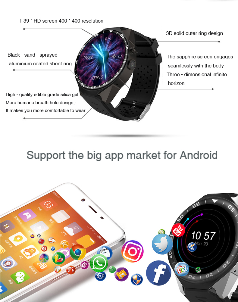 3G Android Smart Watch Phone Heart Rate Monitor Touch Screen Support GPS Wifi SIM Camera App silver 3 6