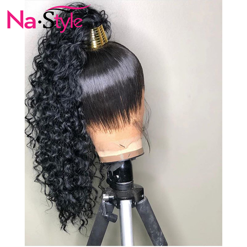 HD Transparent Invisible Lace Wig 360 Lace Frontal Human Hair Wigs Curly Long Preplucked Bleached Knots Natural Peruvian Remy - 4