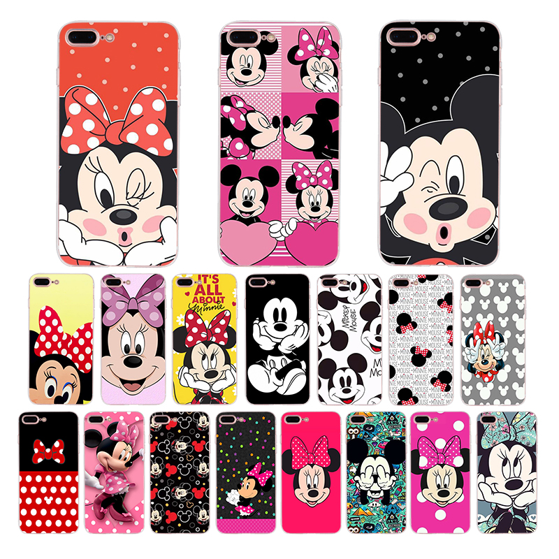 Luxury Clear Bling Gliter Mickey Minnie Mouse Phone Cases Fundas
