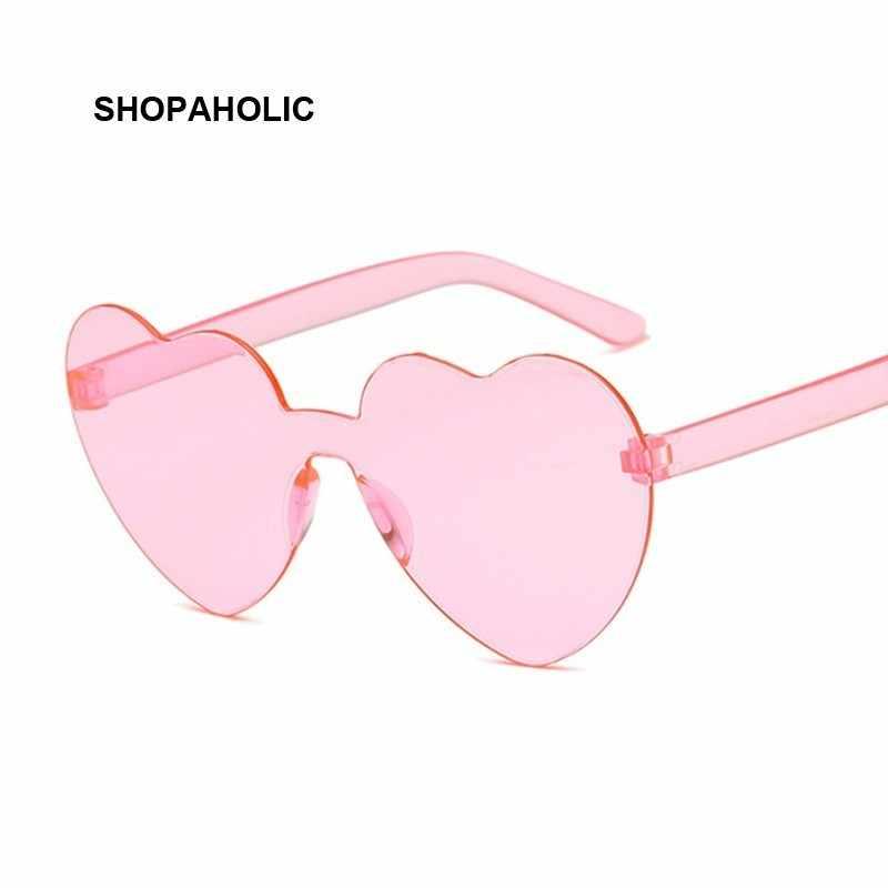 جديد قطعة واحدة الحب القلب عدسة النظارات الشمسية النساء نظارات بلاستيكية شفافة نمط نظارات شمسية الإناث واضح لون الحلوى سيدة