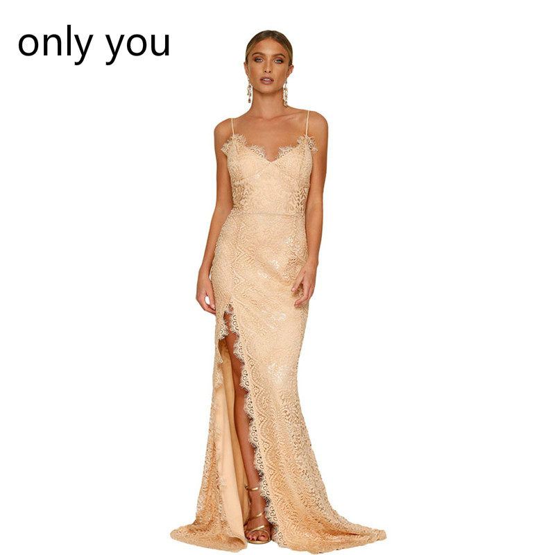 ONLY YOU Sexy Party Gowns Nude Yum Lacy spaghetti strap Lace Backless Special Occasion Dresses Vestidos De Festa Long LC61696