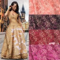 African Lace Fabric 2017 High Quality Lace Applique Net Lace Fabric In Gold Girls Applique Tulle