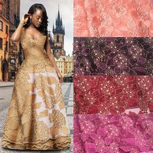 African Lace Fabric 2017 High Quality Lace, Applique Net Lace Fabric In Gold, Girls Applique Tulle Lace Fabric MR721B-3