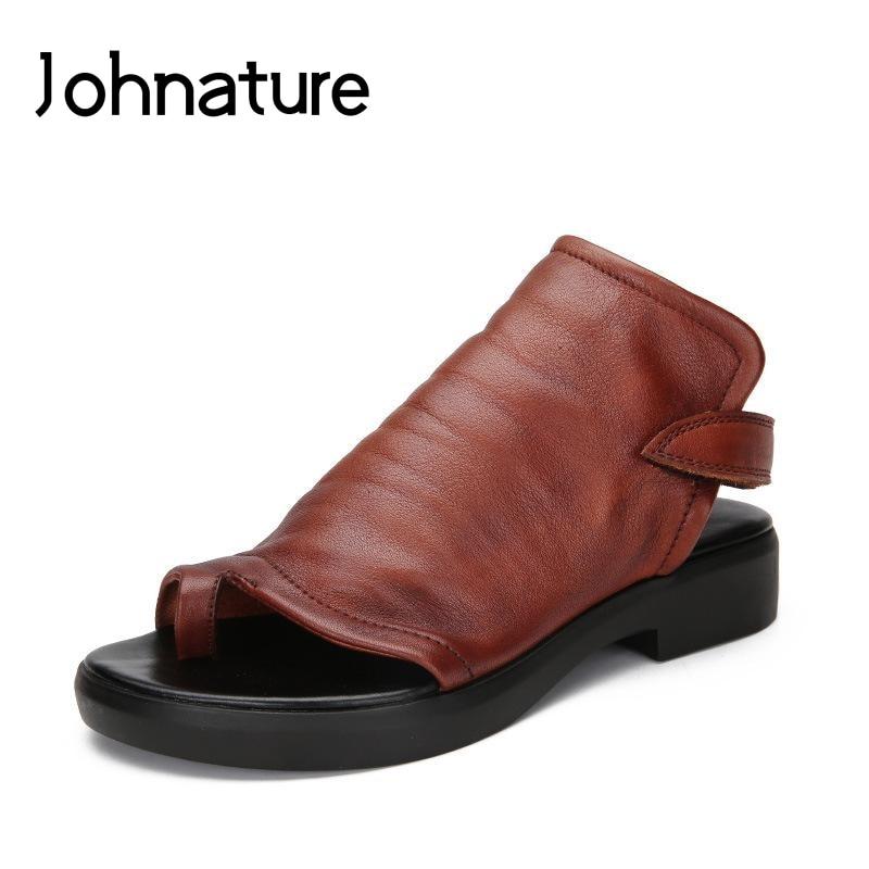 Johnature 2019 ใหม่ฤดูใบไม้ผลิ/ฤดูร้อนของแท้หนังสบายๆ Retro ด้านหลังรองเท้าแตะสำหรับสตรีรองเท้าส้นสูง-ใน รองเท้าส้นสูงเตี้ย จาก รองเท้า บน   1