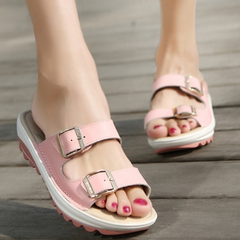 Fashion Summer New Women Sandals Wedges Shoes Lady Sexy Leather Sandals  Slippers Platform Shoes With Comfor 09b1537d38e2