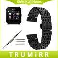 24mm de acero inoxidable reloj band + herramienta para sony smartwatch 2 SW2 Mariposa Hebilla de La Correa de Pulsera Pulsera de La Correa Negro Oro plata