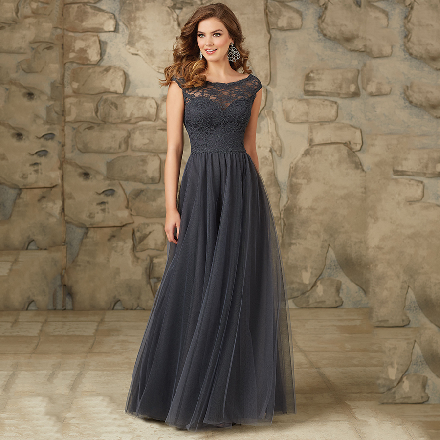 Online get cheap gray bridesmaid dresses 2015 long aliexpress 2015 latest gorgeous lace bodice modest elegant long bridesmaid dresses with cap sleeves tulle gray party ombrellifo Image collections