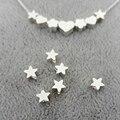 20 pçs/lote 5 MM Chapeamento de Prata Do Coração Da Flor Da Estrela de Cobre Pendant Bead Encantos DIY