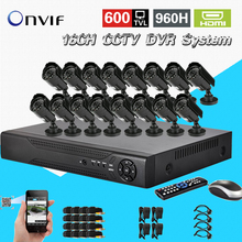 TEATE 600TVL CCTV 16pcs outdoor Waterproof IR Cameras 16ch h.264 DVR recorder Kit 16ch security video surveillance system CK-029