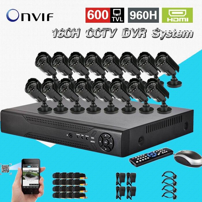 TEATE 600TVL CCTV 16pcs outdoor Waterproof IR font b Cameras b font 16ch h 264 DVR