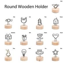 Креативный круглый деревянный фото клип Memo имя карты кулон держатель заметки товары рамка для фотографий таблица номер фото держатель