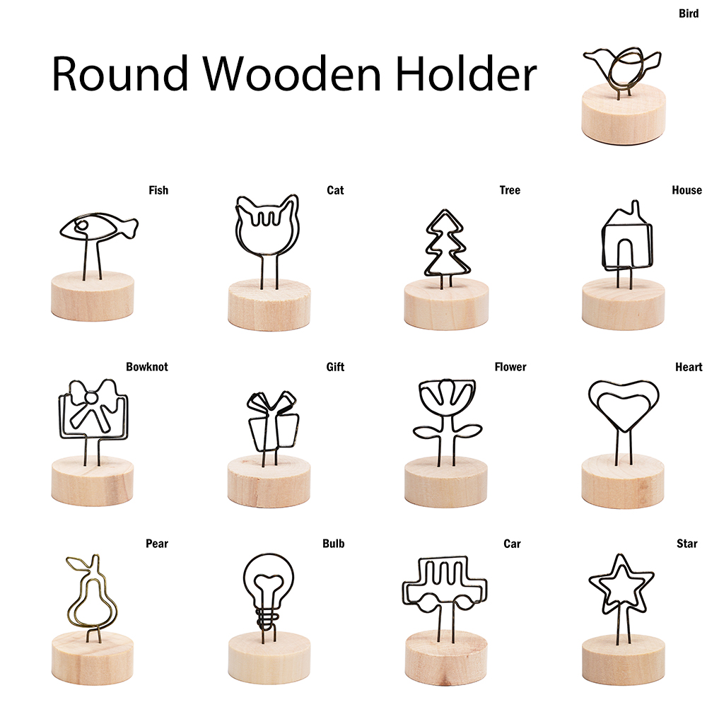 Hot sale Note Articles Picture Frame Table Number Photo Holder Round Wooden Photo Clip Memo Name Card Pendant Holder