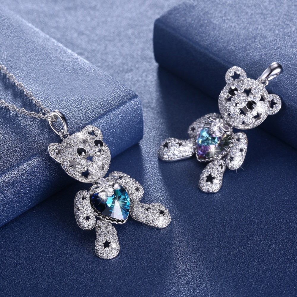 Cute Bear Animal Necklace Crystals from Swarovski 2 Color Romantic Pendant Trendy Rainbow Necklaces For Women Wedding Jewelry
