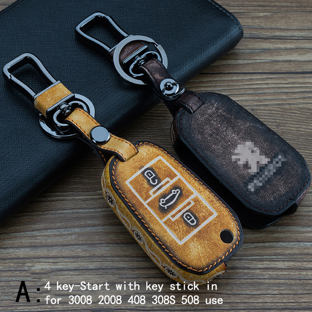 Genuine Leather CAR KEY CASE For PEUGEOT 3008 2008 408 308S 508 301 407 308 Use Automobile Special-purpose CAR KEY HOLDER