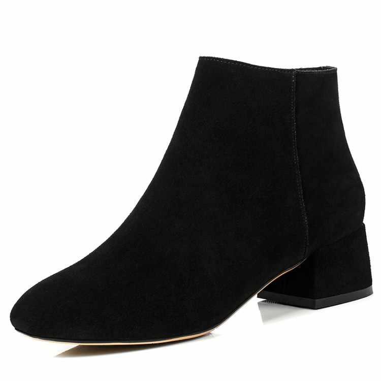 MLJUESE 2018 kadın yarım çizmeler Inek Süet sonbahar bahar çizmeler kare topuk deve renk yüksek botları boyutu 40 Chelsea Çizmeler