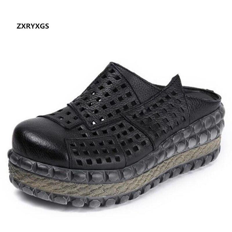 Nowy Hollow Cowhde lato w stylu Retro skórzane kapcie damskie buty sandały na wysokim obcasie 2019 lato kobiety sandały buty na koturnie kapcie w Wysokie obcasy od Buty na  Grupa 1