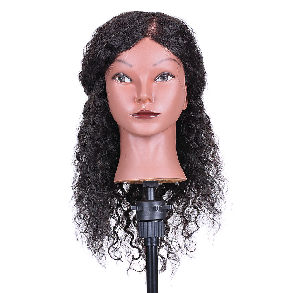 Curly Hair Mannequin Head Hairdressing Training Head for Hair Styling Braiding Practice Training Dummy Doll Head with Human Hair