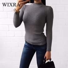 Wixra Warm and Charm 2017 Knitted Turtleneck Sweater Fashion Women Autumn High Stretch Pullover Long Sleeve Sweaters Pull Femme