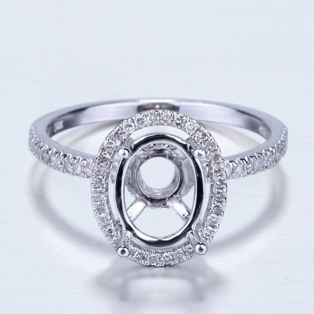 Bague de fiançailles en or blanc 10 k avec diamant, bague de montage Semi 7X9mm, ensemble de broches ovales