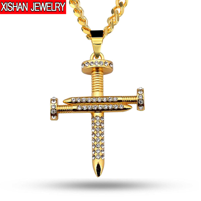 Nail cross necklace jesus christ nail pendant gold color men hip hop nail cross necklace jesus christ nail pendant gold color men hip hop cuban chain aloadofball Image collections