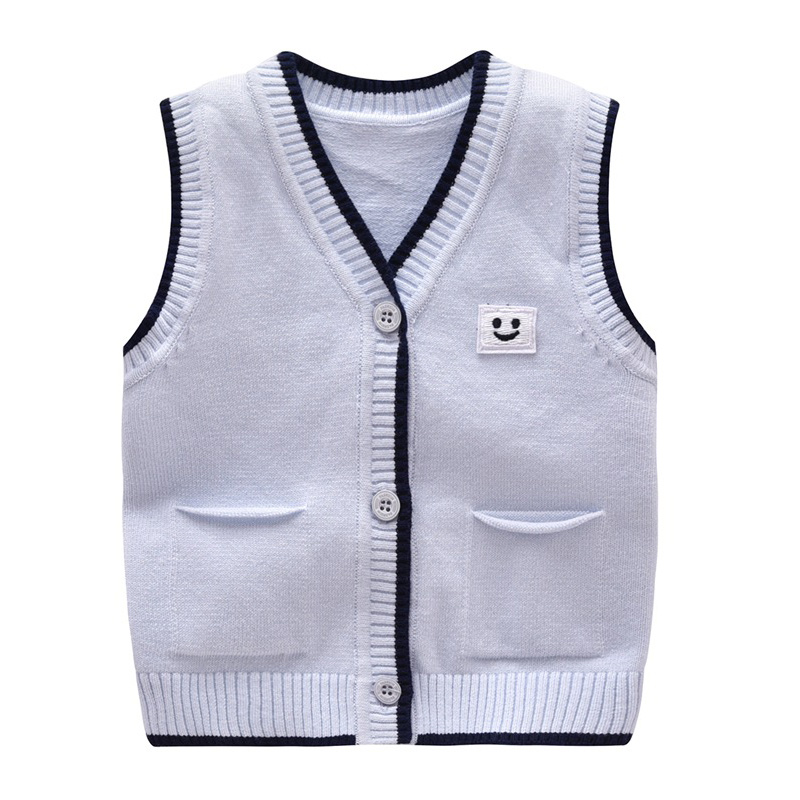 Casual Baby Sweater Knit Cotton Boys Vest Sleeveless V-Neck Newborn Baby Sweater For Boys Spring Autumn Baby Boys Clothing 6-18M