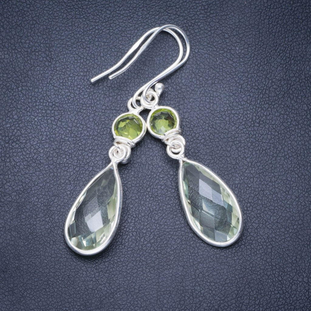Natural Green Amethyst and Peridot Handmade Unique 925 Sterling Silver Earrings 2 A0684Natural Green Amethyst and Peridot Handmade Unique 925 Sterling Silver Earrings 2 A0684
