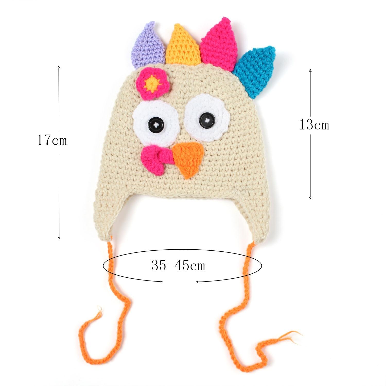d2ffb98a367 Turkey Cute Beanie Hat Animal Winter Cap Handmade Knitted Crochet Bonnet  Toddler Newborn Earflap Thanksgiving Hat-in Skullies   Beanies from Apparel  ...