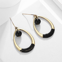 Fashion Gold Silver Color Dangle Earring for Women Alloy Water Drop Geometry Resin Statement Hanging Earring Brincos N50