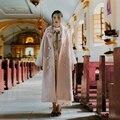Jy003 recién llegado 2016 romántico mujeres elegantes de invierno de color rosa larga floja maxi abrigo de lana