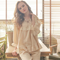 2017 New Spring Fashion Women Pajams Sets Girls Nightdress Autumn Female Cotton Lace Solid Lovely Princess Nightgown