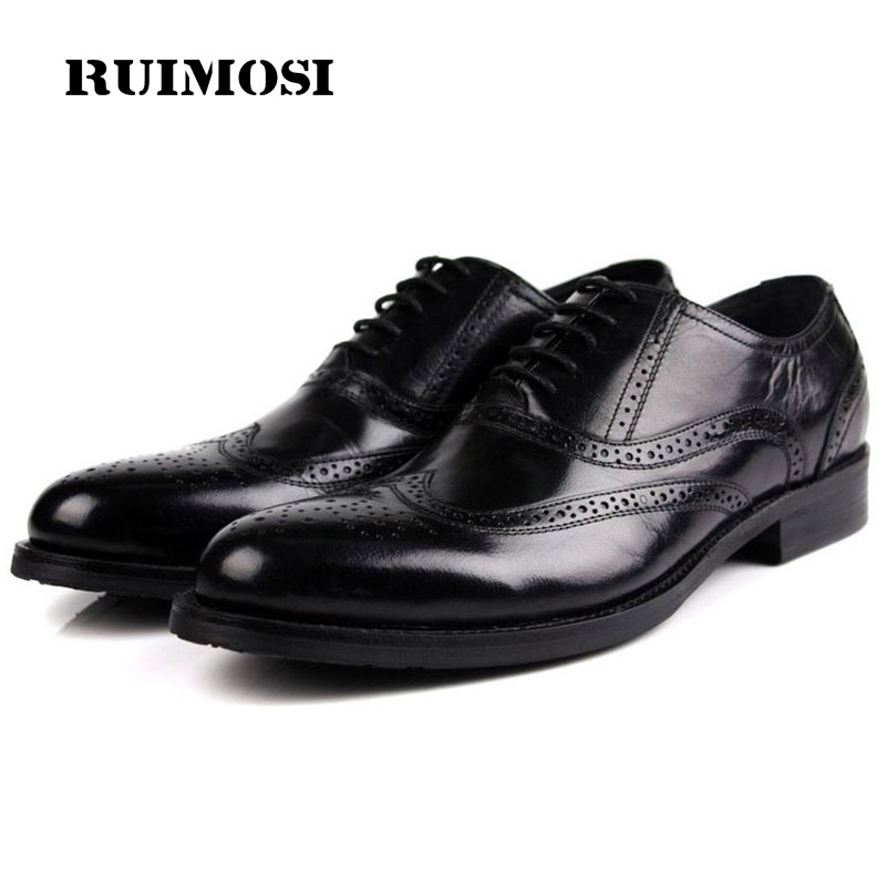 RUIMOSI Fashion Wing Tip Platform Man Dress Shoes Genuine Leather Brogue Oxfords Luxury Brand Round Toe Formal Men's Flats ME53