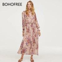 BOHOFREE Floral Printed Long Maxi Dress Ruffles Lace Up Tunic Waist Even Party Women Dresses Boho Elegance Lady Dresses(Linging)