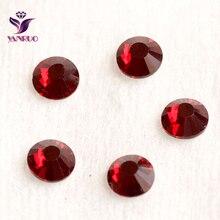 YANRUO Dark Siam Glass Crystal Stones Non Hotfix Rhinestones Flat Back Crystals and Beads Craft