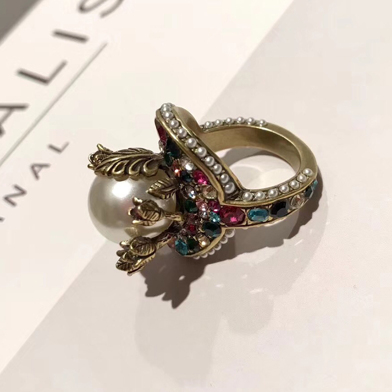 Brand Fashion Pearl Jewelry For Women Vintage Rings Big Pearl Flower Vintage Party Rings Yellow Brass Jewelry Colorful Stone картридж epson light cyan stylus photo r270 r290 rx590 c13t11254a10