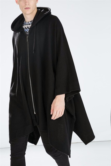 New Fashion Gothic Clothing British Style Fashion Mens Wool Cloak Cape Long Black Hooded Trench Coat Men Windbreaker Overcoat