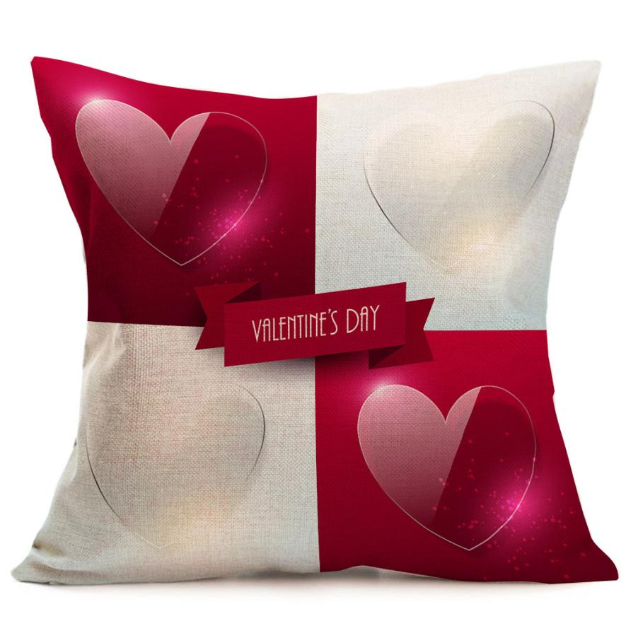 2018 Pillow Case 45*45 Valentine's Day Fashion Throw Pillow Cases Cafe Sofa Cushion Cover Home Decor Free Drop Shipping B JA18