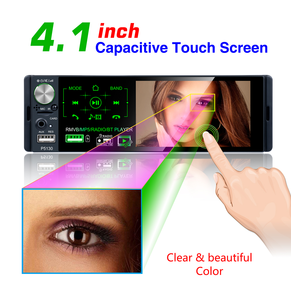 P5130 Subwoofer support Micophone and camera Car Receiver 4.1Touch screen Bluetooth RMVB/MP5/Radio/BT Player AM FM Radio RDS
