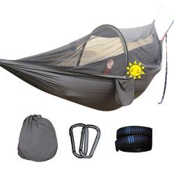 2 persoon Multiuse Draagbare Hangmat Camping Survivor Hangmat met Klamboe Stuff Sack Swing hamac Bed Tent Gebruik Meubels